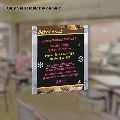 Acrylic Clear Sign Holder 11W x 17H Inches with Suction