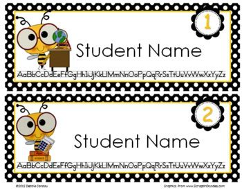 Bee-Themed Editable Name Tags by Sailing Through 1st Grade