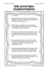 Daily Journal Topics: Exceptional Explorers Printable (2nd