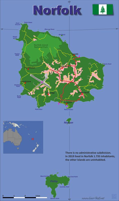 Norfolk Island Country data, links and map by