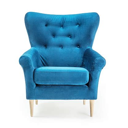 Turquoise Arm Chair Isolated On White Background Front