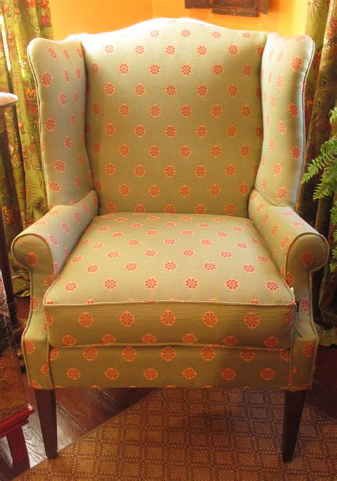 Upholstered Wing Chair, Brunschswig fabric   BertoliniCo