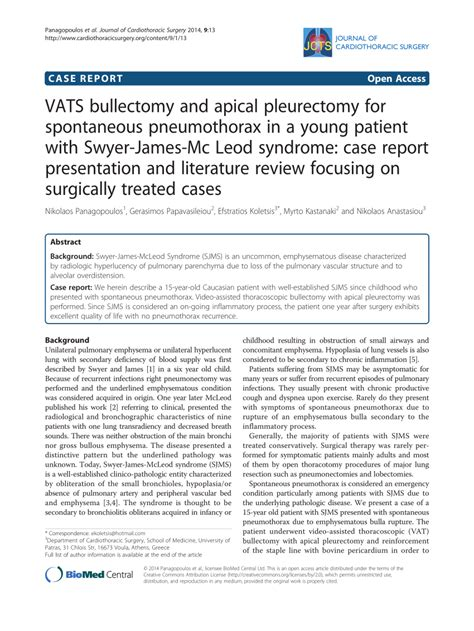 (PDF) VATS bullectomy and apical pleurectomy for
