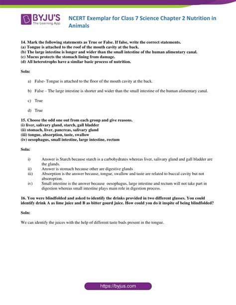 NCERT Exemplar for Class 7 Science Chapter 2 nutrition in
