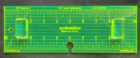 """Neon Long Arm Ruler Micro Stitching 1/4"""" thick Ruler 3 1/2"""