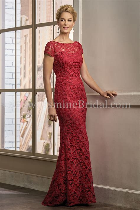 K198009 Long Boat Neckline Lace MOB Dress with Cap Sleeves