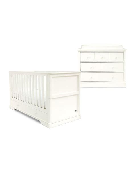Oxford 2 Piece Cot Bed Set White | Nursery Furniture