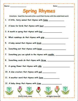 Spring & Easter Fun: Rhymes, Synonyms, Antonyms, Nouns and