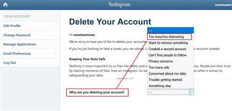 Delete Instagram Account Permanently by Using Browser or